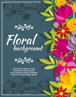 Modèle d'affiche de printemps abstrait avec des fleurs