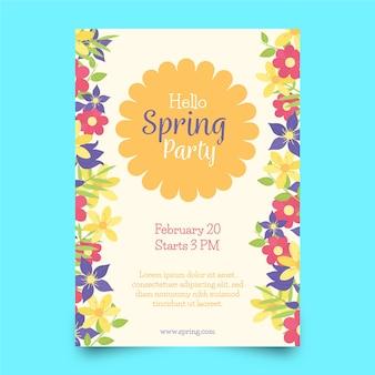 Modèle d'affiche de printemps dessiné à la main avec des fleurs colorées