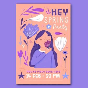 Modèle d'affiche de printemps dessiné à la main avec illustartion coloré