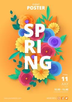 Modèle d'affiche de printemps avec des fleurs coupées de papier coloré