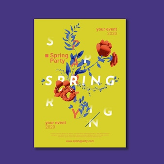 Modèle d'affiche de printemps