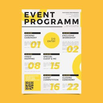 Modèle d'affiche de programmation d'événement créatif