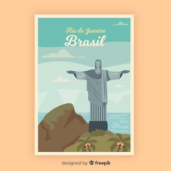 Modèle d'affiche promotionnelle rétro du brésil