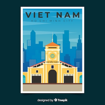 Modèle d'affiche promotionnelle rétro du vietnam
