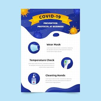 Modèle d'affiche de protocole de coronavirus pour les entreprises