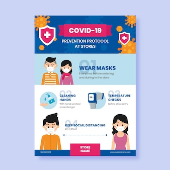 Modèle d'affiche avec protocole coronavirus pour les magasins