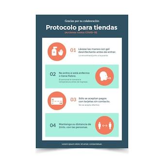 Modèle d'affiche avec protocole de coronavirus pour les magasins