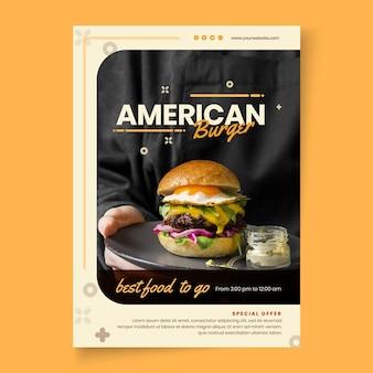 Modèle d'affiche de pub de cuisine américaine