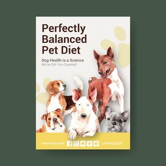 Modèle d'affiche publicitaire aquarelle chien