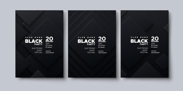 Modèle d'affiche publicitaire de musique électronique black party
