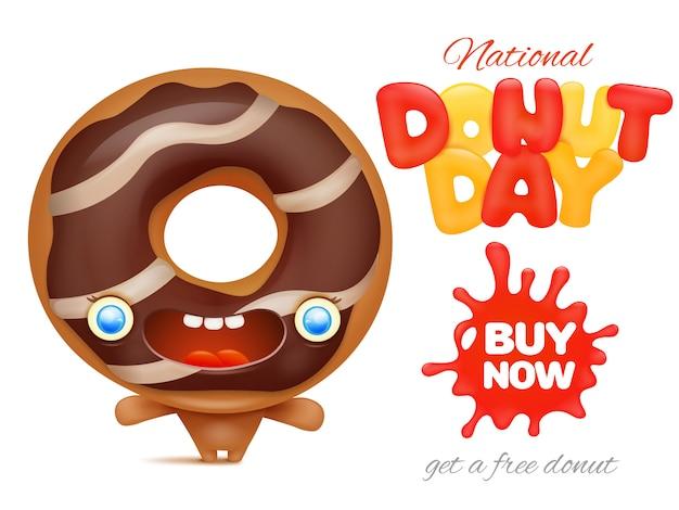 Modèle d'affiche publicitaire pour la fête nationale du donut
