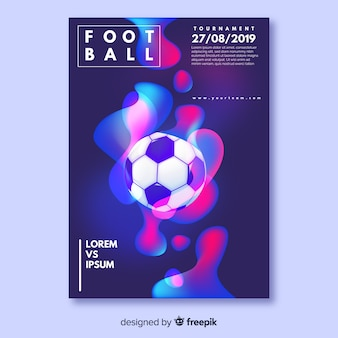 Modèle d'affiche réaliste de ballon de football