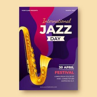 Modèle d'affiche réaliste de la journée internationale du jazz