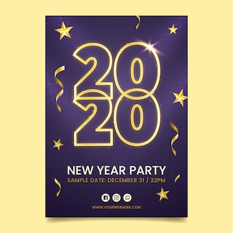 Modèle d'affiche réaliste de nouvel an 2020