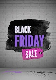 Modèle d'affiche réaliste de vecteur de vente shopping vendredi noir. publicité à petit prix. promotion de remise en magasin sur fond de mur de briques
