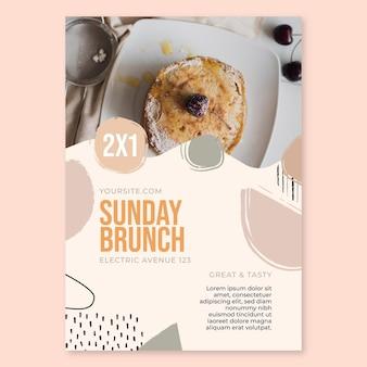Modèle d'affiche de restaurant de nourriture de brunch du dimanche