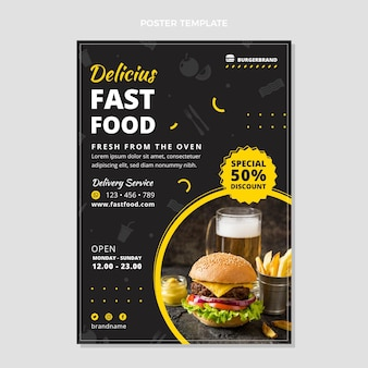 Modèle d'affiche de restauration rapide design plat