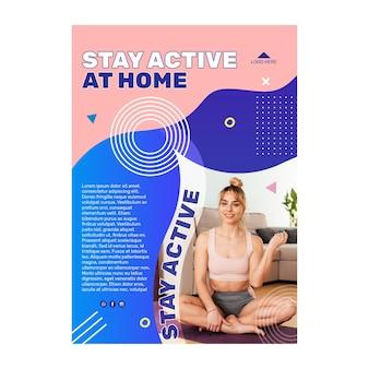 Modèle d'affiche de rester actif à la maison