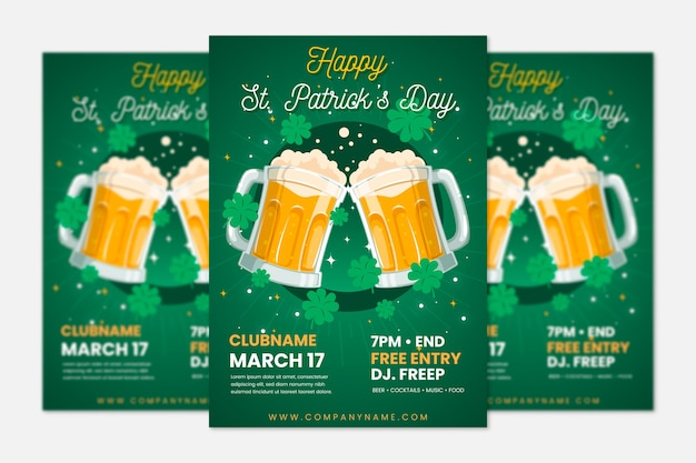 Modèle d'affiche de la saint-patrick avec de la bière