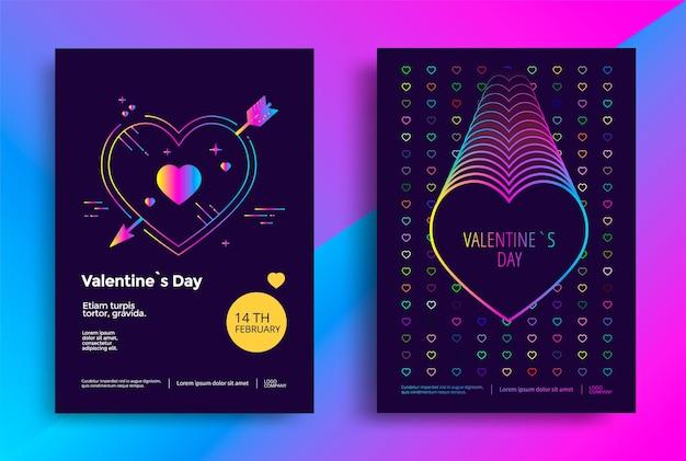 Modèle d'affiche de la saint-valentin avec coeur dégradé vibrant.