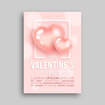 Modèle d'affiche de la saint-valentin de coeurs réalistes