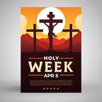 Modèle d'affiche de la semaine sainte