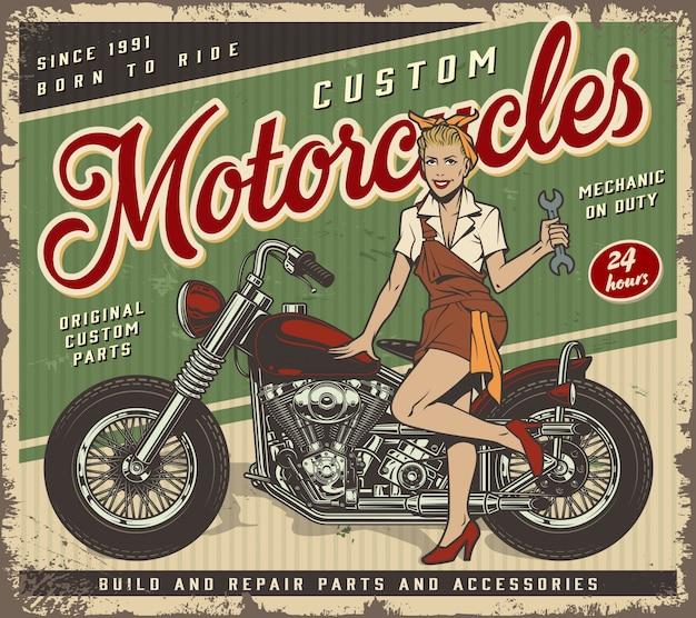 Modèle d'affiche de service de garage vintage avec pin-up girl mécanicien