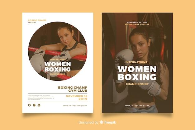 Modèle affiche de sport de boxe féminine