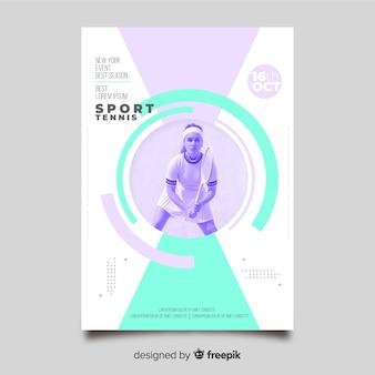 Modèle d'affiche de sport avec photo en clair-obscur
