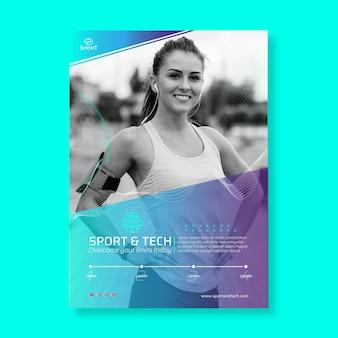 Modèle d'affiche de sport et de technologie