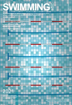 Modèle d'affiche de sports de natation
