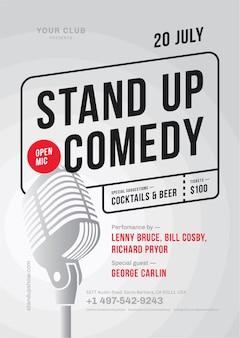 Modèle d'affiche de stand up comedy