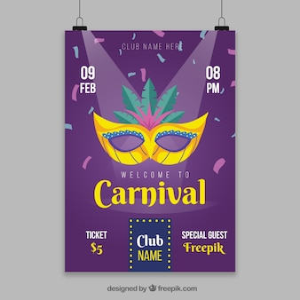 Modèle d'affiche suspendue pour le carnaval avec le feu des projecteurs