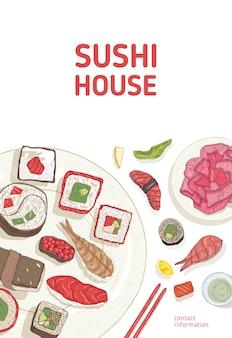 Modèle d'affiche avec table à manger et mains tenant des sushis, des sashimis et des rouleaux avec des baguettes sur blanc