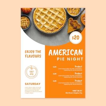Modèle d'affiche de tarte américaine