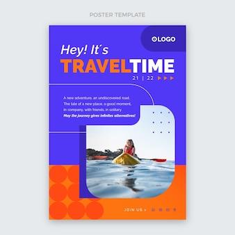 Modèle d'affiche de temps de voyage design plat