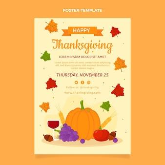 Modèle d'affiche de thanksgiving plat vertical