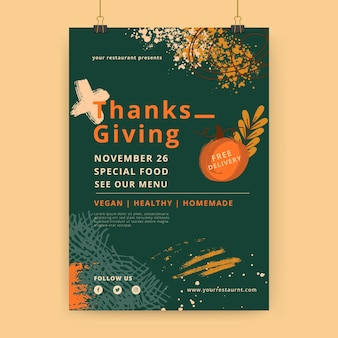 Modèle d'affiche de thanksgiving vertical