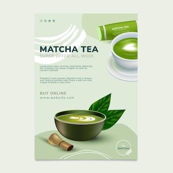 Modèle d'affiche de thé matcha sain