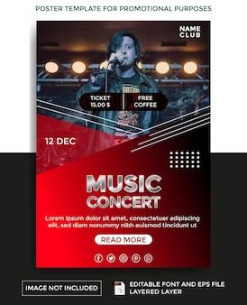 Modèle d'affiche de thème de concert de musique