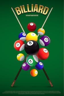 Modèle d'affiche de tournoi de billard, différentes boules de billard tombant et deux queues croisées sur fond vert.