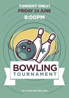 Modèle d'affiche de tournoi de bowling.