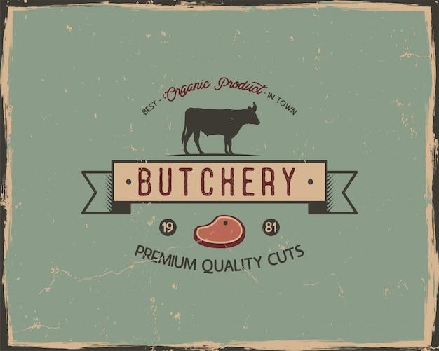 Modèle d'affiche typographie magasin de boucherie dans un style ancien rétro.