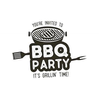 Modèle d'affiche de typographie de soirée barbecue dans un style ancien rétro.