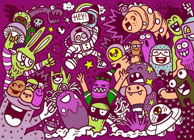 Modèle d'affiche de vacances doodles dessinés à la main de dessin animé. très détaillé, avec beaucoup d'illustration d'objets. oeuvre drôle. conception d'identité d'entreprise.