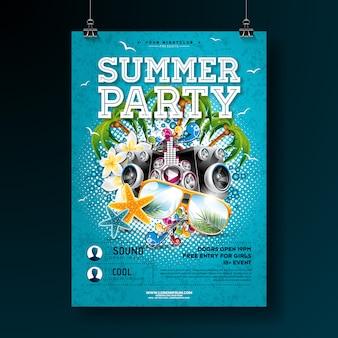 Modèle d'affiche vector summer party conception avec des lunettes de fleur et de soleil
