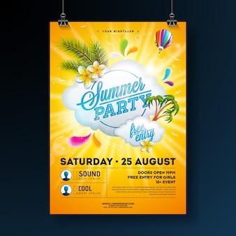Modèle d'affiche vector summer party design avec des arbres de fleurs et de palmiers