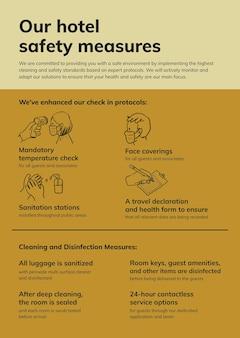 Modèle d'affiche vectorielle imprimable sur le coronavirus, mesures de sécurité de réouverture de l'hôtel