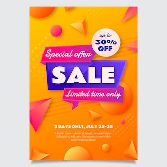Modèle d'affiche de vente abstrait dégradé