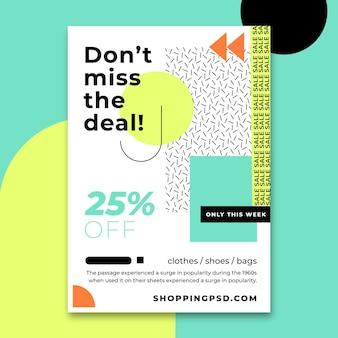 Modèle d'affiche de vente abstrait plat avec remise